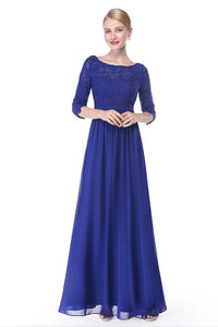 Blue 3/4 sleeve A-line Chiffon Lace Long Prom Dresses