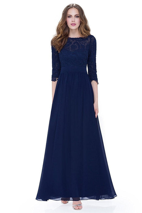 Navy 3/4 sleeve A-line Chiffon Lace Long Prom Dresses
