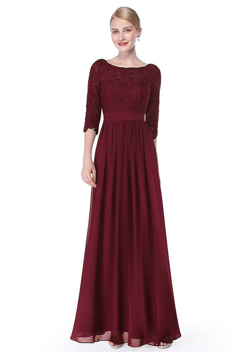 Burgundy 3/4 sleeve A-line Chiffon Lace Long Prom Dresses