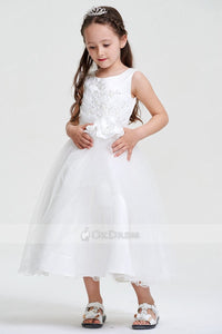 White Ball Gown Tea-length Applique Organza Flower Girl Dress with Flower
