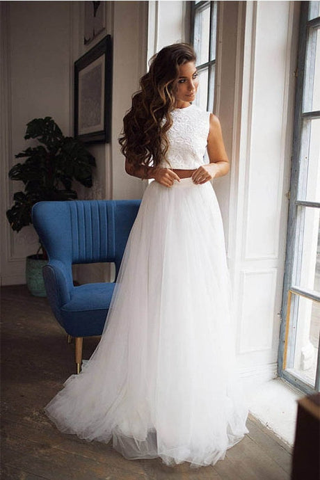 Ivory Sexy Two-Piece Lace Top Tulle Wedding Dresses