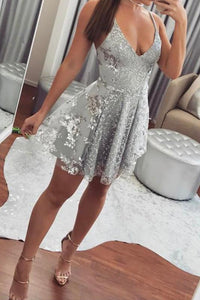 Sexy A-line Deep V-Neck Sequin Tulle Homecoming Dresses