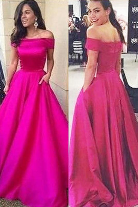 Modern Ball Gown Off-the-Shoulder Sweep Train Fuchsia Prom Dresses