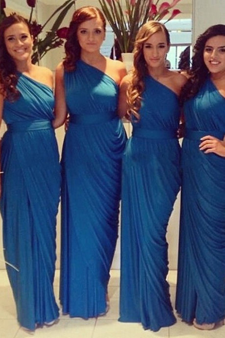 Blue Cheap Sheath/Column One-shoulder Sash Long Bridesmaid Dresses