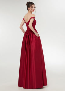 Red Satin Off-the-shoulder A-line Floor-Length Prom Dress With Beadings