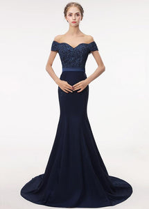 Off-the-shoulder Mermaid Evening Dress With Lace Appliques & Beadings