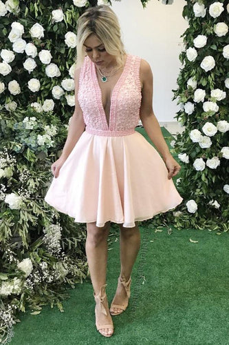 Sexy Chiffon Sleeveless Short Prom Dresses with Beading