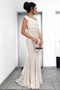 Trumpet/Mermaid Chiffon Sleeveless Appliques Lace Prom Dresses
