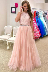 Pink Floor-Length Tulle Halter Prom Dresses with Beading