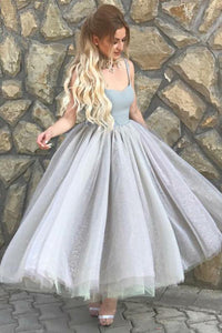 Sexy A-Line/Princess Spaghetti Straps Tulle Prom Dresses