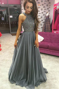 A-Line/Princess Chiffon Floor-Length Prom Dresses with Beading