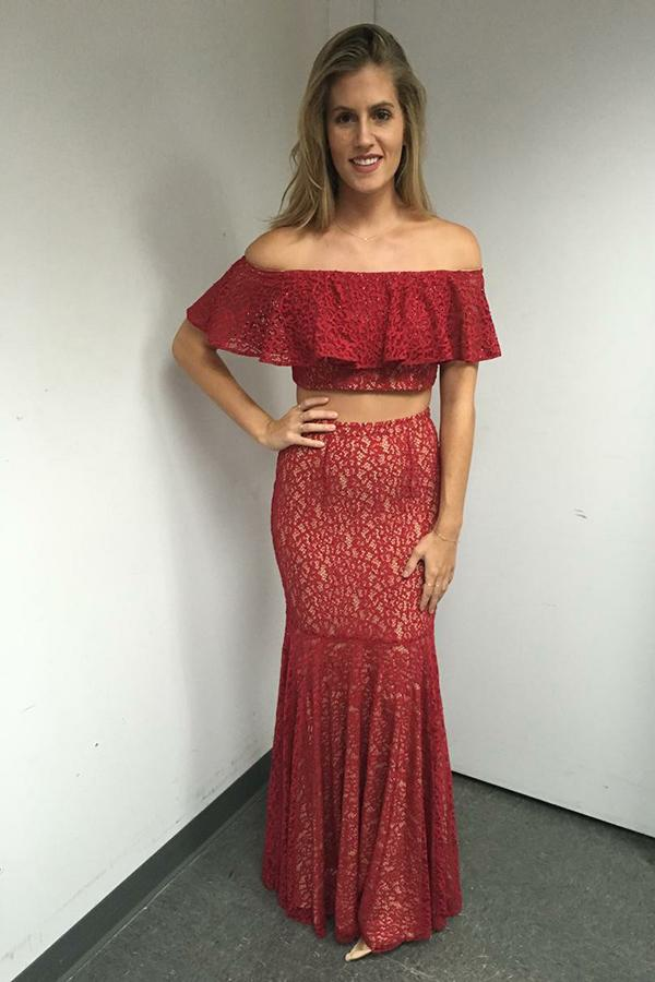 Red Two Piece Off-the-Shoulder Floor-Length Lace Prom Dress