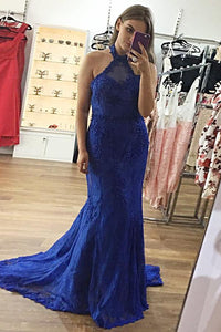 Trumpet/Mermaid Halter Sweep Train Lace Prom Dresses