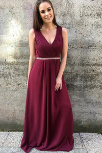 A-Line/Princess Chiffon Sleeveless V-neck Prom Dresses with Beading