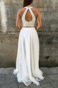 White A-Line/Princess Tulle Sleeveless Prom Dresses with Beading