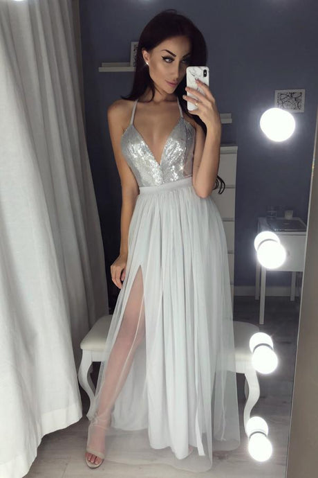 A-Line/Princess Tulle Sequined  Spaghetti Straps Prom Dresses