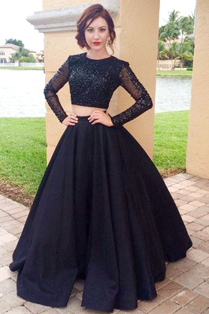Black Satin Long Sleeves Scoop Neck Prom Dresses with Beading