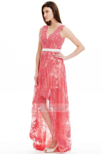 Glamour Spring V-neck High-low Lace Prom Dress Online Sale