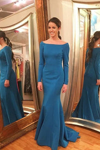 Blue Satin Bateau Zipper Long Sleeves Ocean Prom Dresses