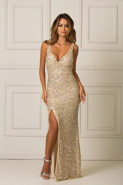 Champagne Sheath/Column Deep V-neck Split Long Formal Prom Dresses