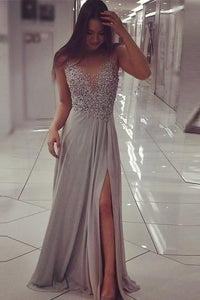 Silver Sequin Scoop Chiffon Silver A-line Floor-length Prom Dresses