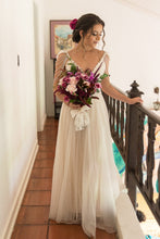 Floor-Length Beaded V-Neck Wedding Dresses