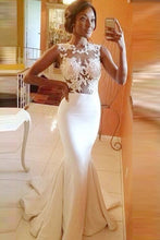 Ivory Courtlike Satin Appliqued Natural Trumpet/Mermaid Prom Dresses