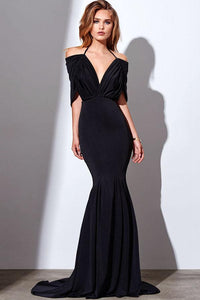 Black Cape-tyle Pleated Bodice Trumpet/Mermaid Long Evening Dresses
