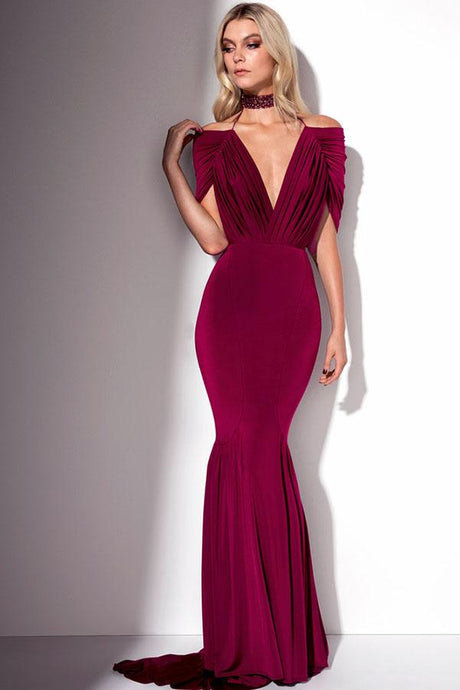 Cape-tyle Pleated Bodice Trumpet/Mermaid Long Evening Dresses