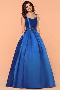 Blue Elegant A-line/Princess Scoop Prom Dresses with Beaded Straps