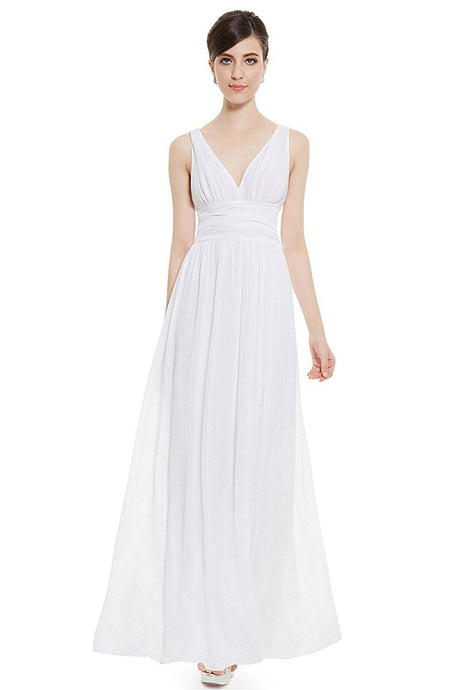 White Sleeveless A-line/Princess Sleeveless V-neck Chiffon Long Bridesmaid Dress