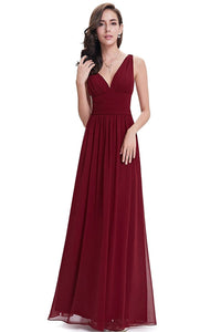 Burgundy Sleeveless A-line/Princess Sleeveless V-neck Chiffon Long Bridesmaid Dress
