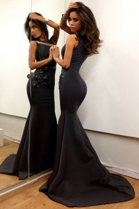 Black Timeless Zipper Sleeveless Natural Beaded Prom Dresses