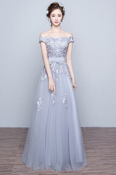 Silver Awesome A-line Off-the-shoulder Lace Applique Lace-up Floor-length Tulle Prom Dresses