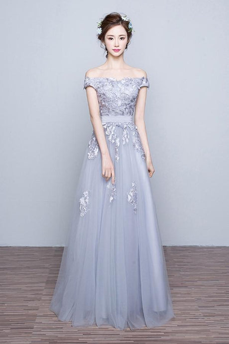 Awesome A-line Off-the-shoulder Lace Applique Lace-up Floor-length Tulle Evening Dresses