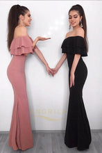Trumpet/Mermaid Off-the-shoulder Ruffles Long Formal Prom Dresses