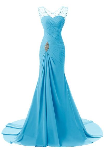Blue Tactile Chiffon Scoop Trumpet/Mermaid Sleeveless Lace-up Evening Dresses