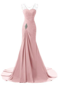 Pink Tactile Chiffon Scoop Trumpet/Mermaid Sleeveless Lace-up Evening Dresses