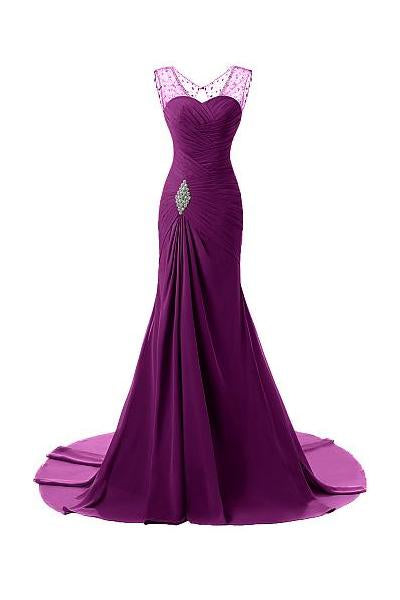 Grape Tactile Chiffon Scoop Trumpet/Mermaid Sleeveless Lace-up Evening Dresses