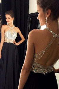 Black Sacred Halter Sleeveless Sweep Train A-line/Princess Prom Dresses