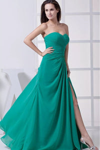 Sweetheart Sheath/A-Line Backless Chiffon Floor-length Prom Dress