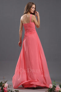 A Line One Shoulder Handmade Flower Chiffon Ruffles Long Bridesmaid Dresses
