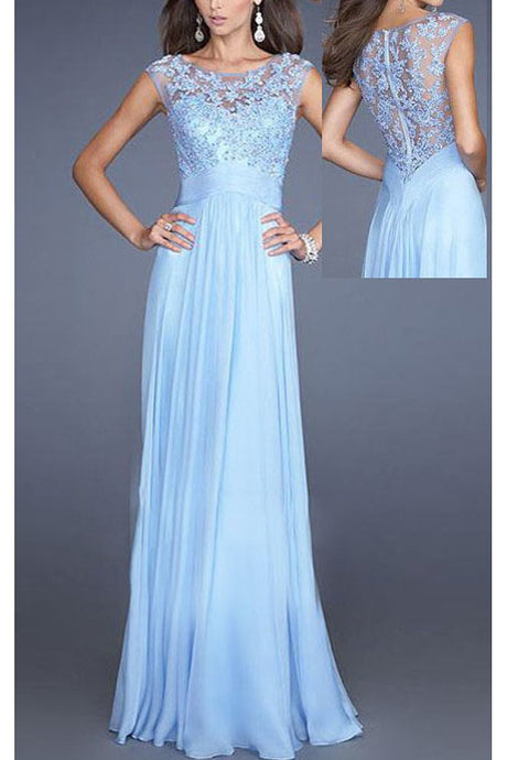 Sky Blue  Embellished Lace Applique Bodice Chiffon Long Prom Dresses