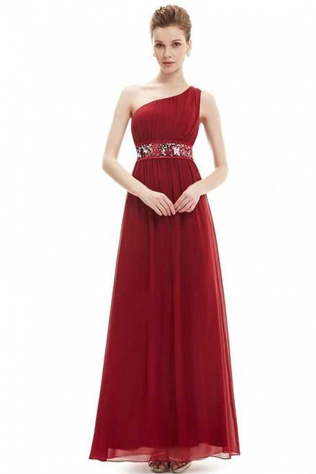 Red A-line One-shoulder Sequined Sash Chiffon Long Bridesmaid Dress