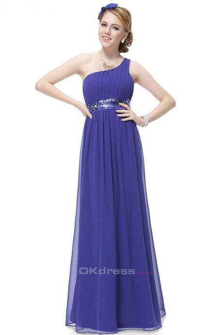 Blue A-line One-shoulder Sequined Sash Chiffon Long Bridesmaid Dress
