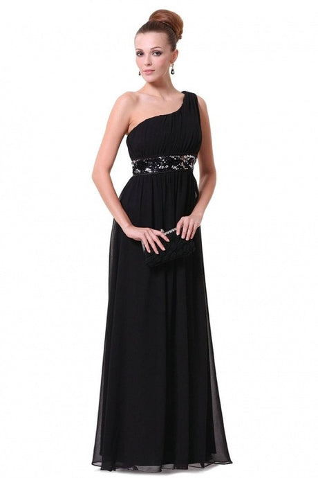 Black A-line One-shoulder Sequined Sash Chiffon Long Bridesmaid Dress