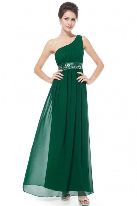 Green A-line One-shoulder Sequined Sash Chiffon Long Bridesmaid Dress