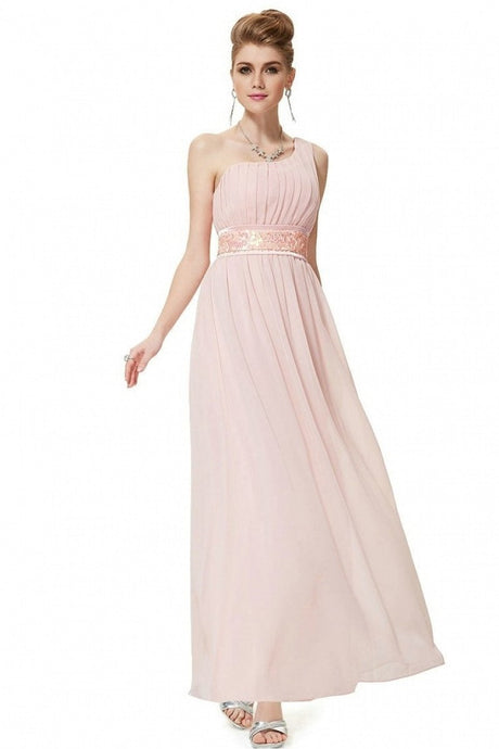 Pink A-line One-shoulder Sequined Sash Chiffon Long Bridesmaid Dress