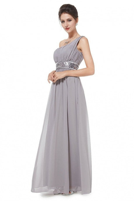 Silver A-line One-shoulder Sequined Sash Chiffon Long Bridesmaid Dress