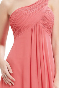 One-shoulder A-line Pleated Long Chiffon Bridesmaid Dress